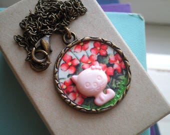 Vintage collier de charme Animal chat & fleurs rouge collier - rétro Sweet Kitty pendentif bijoux en cadeau pour elle - carte de voeux papier Floral rose