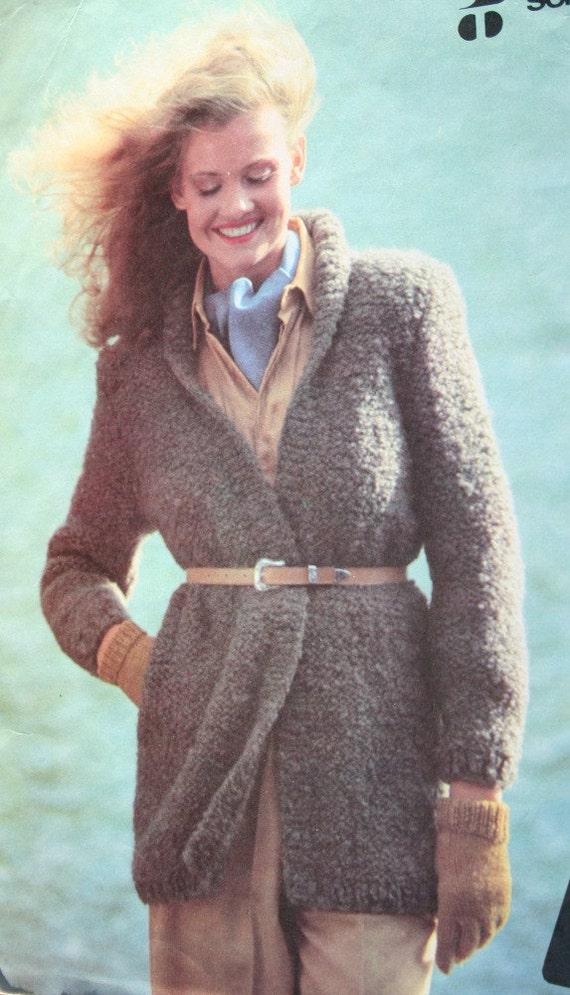 Jacket Knitting Pattern English French Boucle Women Cardigan Sweater ...