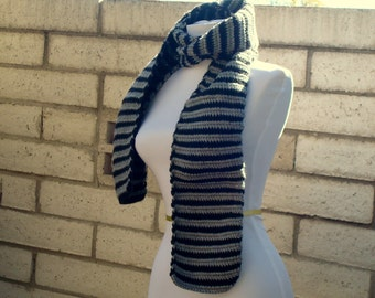 Black and Grey Striped Scarf For Men or Women - Gray and Black Stripe Scarf - Hoooked Scarves - Ready To Ship