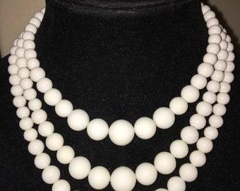 Vintage Multi Strand Acrylic White Graduated Beaded Necklace