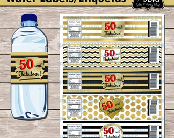 50 and Fabulous Water label,50 and Fabulous Favors,50 and Fabulous labels,Printable Water labels,50 and Fabulous Party,Birthday Water Labels