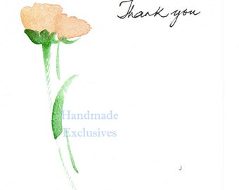 Set of 4, Thank you cards, Handpainted Note Cards, Original Watercolor Art, Rose, tulip, yellow, red, orange and lavendar,
