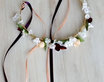 Floral crown plum peach hair wreath bridal shower headband wedding accessories flower girl fairy halo boho destination