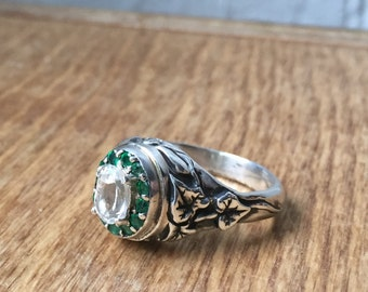 White Topaz and Emeralds in Sterling Silver- The Ivy Halo Ring