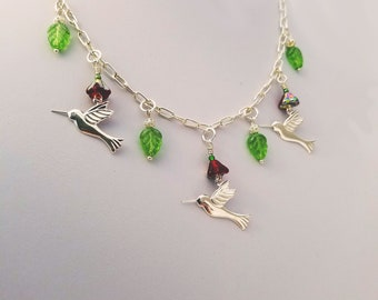 """Silver hummingbird and trumpet flowers necklace 16"""""""
