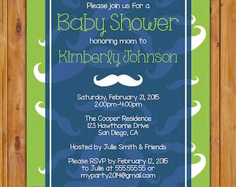 Mustache Little Man Baby Shower Invitation Lime Green Navy Blue Mustaches Shower Invite Baby Boy Printable 5x7 Digital JPG (403)