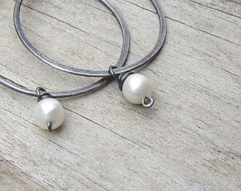 Silver Hoops, Small Hoops, Oxidized Sterling Silver - Select Your Birthstone, Sterling Silver Hoop Earrings