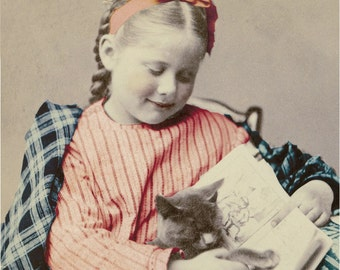 Little girl Reads to Her kitty Cat Vintage Tinted photograph Print