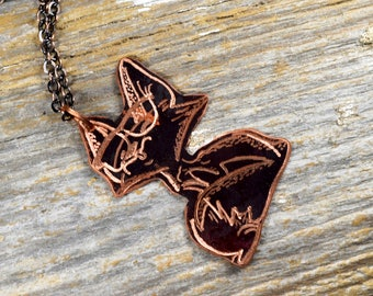 Fox with Glasses Hand Engraved Necklace in Copper - Hand Sketched and Heat Patinaed Super Cute Animals with Glasses Line