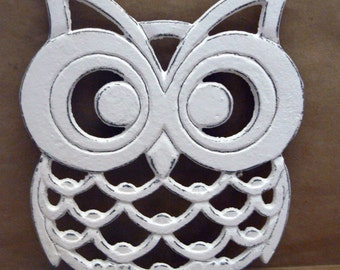 Cast Iron Owl Trivet White Shabby Chic Woodland Kitchen Hot Plate Home Decor