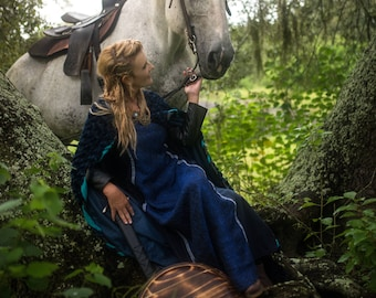 Lagertha Blue Dress with Leather Sleeves