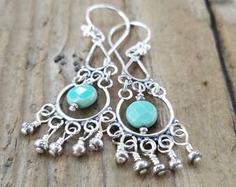 Green Moss Opal Earrings and Hill Tribe Silver, October Birthstone, Bali Sterling Silver Earrings, Chandelier Earrings, Opal Jewelry