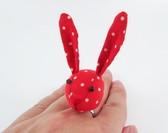 MADE-TO-ORDER ( 1 - 2 Weeks)- Bunny Adjustable Ring-Red White Spots