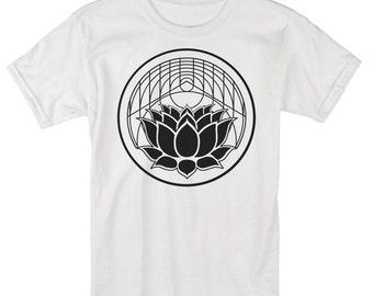 Men's LOTUS Geometric Screen Printed T-Shirt Tattoo Style Sacred Geometry Clothing Tee