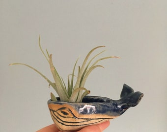 Handmade, Hand-sculpted Mini Blue Whale Ceramic Bowl Sculpture Air Planter Decorative Jewelry Holder