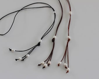 Extra Long Leather and Pearl Lariat Necklace