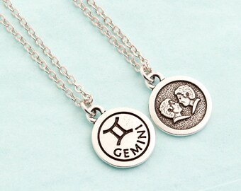 Silver Gemini Necklace - Personalized Zodiac Necklace - Gemini Jewelry - Birthday Gift -  Astrology Pendant - Gift For Daughter