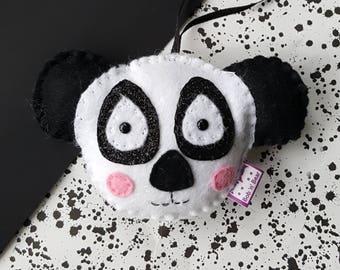 Panda decoration-panda -felt panda-panda decor-hanging panda-playroom decor-monochrome