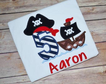 Pirate birthday shirt, pirate ship birthday shirt, pirate birthday party, boys birthday shirt, toddler birthday outfit, first birthday shirt