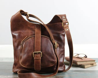 Leather Shoulder Bag /Cross Body Bag /Handbag, Brown