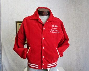 80s M 40-42 Rennoe Corduroy Baseball Jacket Tri-Sum Chippers Scarlet Red
