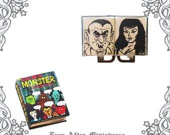 HALLOWEEN COLORING Miniature Book – 1:12 Halloween Dollhouse Miniature Book Vintage Monster Coloring Book Halloween Book Printable DOWNLOAD