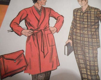 Vintage 1960's McCall's 2165 Men's Pajamas and Robe with Case Sewing Pattern, Size Small Chest 34-36