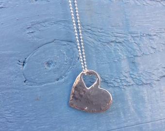 Fine silver heart pendant on a sterling silver chain~ love