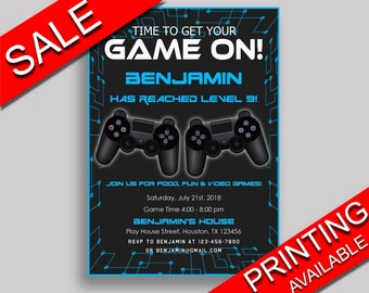 Video Game Birthday Invitation Video Game Birthday Party Invitation Video Game Birthday Party Video Game Invitation Boy gamer gaming 5IAY6