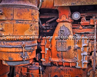Antique tractor engine. Downloadable digital image for making prints. Rustic Americana.