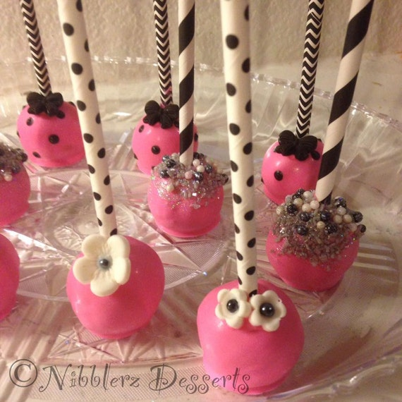 12 Black White Pink Silver Designer cake pops bridal
