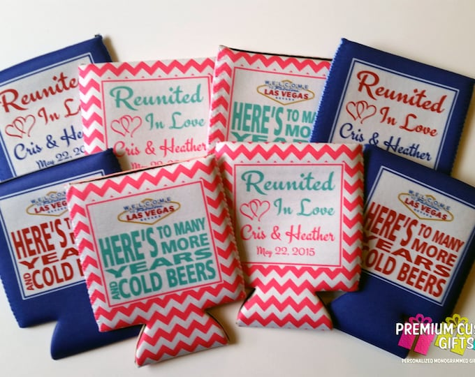 Wedding Can Coolers- Personalize Coolers For Your Event - Wedding, Bachelorette, Bridesmaid, and Custom Can Coolers - Design #121