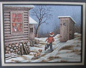 Winter Oil Painting Americana Farmhouse and Home Décor C. Carson Artist