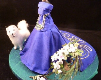 Peacock Blue Bridal gown, scale 1:12