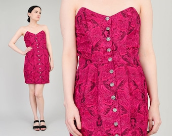80s Fuchsia Pink Strapless Dress Floral Tapestry Sweetheart Bustier Dress ADINI India Dress  Button Up Fitted Wiggle Mini Dress Small S