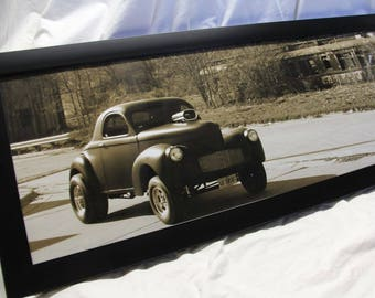 Framed 12x36 inch (large) panoramic poster of old Willy's gasser and abandoned train car