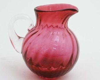 Vintage Blown Glass Cranberry Glass Pitcher - Dartington Glass Mini Jug