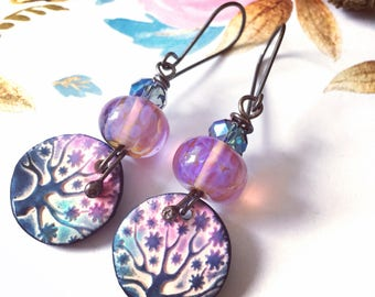 Starry night, magic tree, lampwork earrings, magic of nature