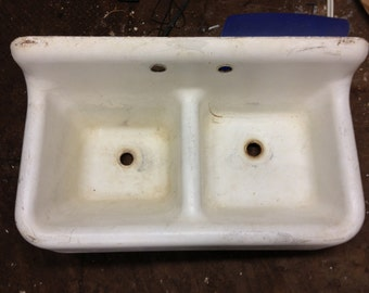 Superior Vintage Porcelain Over Cast Iron Double Basin Farmhouse Sink