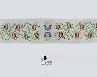 Embroidered  Passover runner. 80'' (203 cm). Jewish holidays. Judaica. Pesah gift. Land of Israel. Pomegranates. Star of David. Hamsa