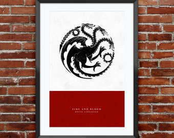 "Game of Thrones - House Targaryen print 11X17"""