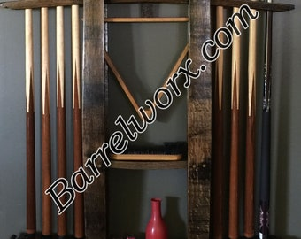 "36"" whiskey barrel stave wall mount pool cue rack"