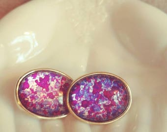 Vintage Purple Speckled Earrings