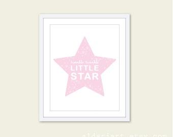 Baby Girl Nursery Twinkle Twinkle Little Star - Nursery Typography Digital Print - Pastel Pink and White