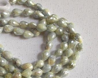 SALE Blue Sapphire Beads 8mm 10mm Mystic Teardrop , Natural Sapphire Gemstone , 1 Strand