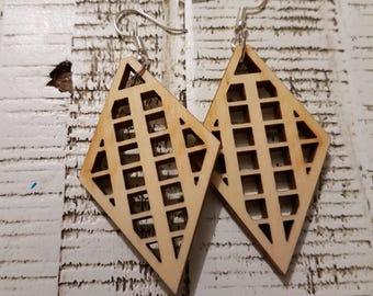 Wooden Diamond Grid earrings