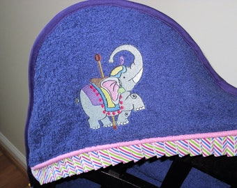 carousel elephant hooded towel many colors available shower gift birthday gift