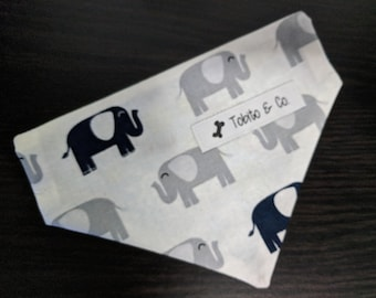 Dog bandana// gray and blue elephants//reversible//over the collar