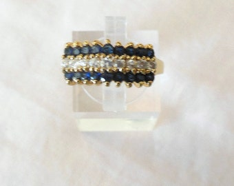 Ring size 8, natural sapphires, gold plated