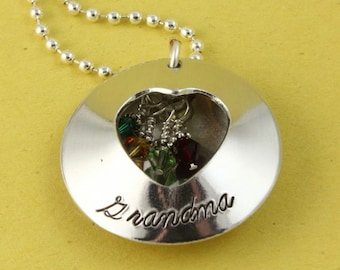 Mother's Day Gift - Grandma Locket Necklace - Birthstone Necklace - Custom Necklace - Birth Stone Necklace - Gift For Grandma - Gift For Mom